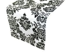 Table Runners 20662: 10 Damask Table Runners 12 X 108 3D Black White Flocking Flocked Made In Usa -> BUY IT NOW ONLY: $36.99 on eBay!