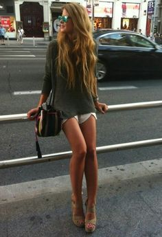 Long haired princess in short shorts and strappy...   Great Legs and Stylish High Heels