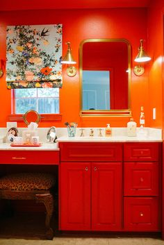 Bathrooms don't have to be plain and boring! #ORANGE