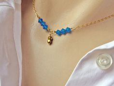 Delicate Y Necklace, Blue Caribbean Necklace, 14k Gold Fill or Sterling Silver, Swarovski Crystal Necklace, Choker Necklace, Ocean Jewelry by NORRANA on Etsy