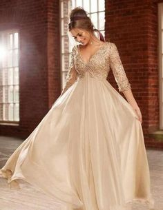 New Arrival Elegant 3/4 Lace Sleeve Prom Dresses V-Neck Beaded Sequined Crystal Empire Chiffon Formal Gowns Custom Size,301