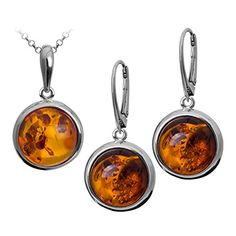 Sterling Silver Amber Round Leverback Earrings Pendant Set Chain 18 Inches -- You can get additional details at the image link.