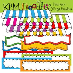Primary Page Headers digital clipart von kpmdoodles auf Etsy