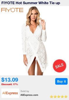 FIYOTE Hot Summer White Tie up Long Sleeves Lace Bathing Suit Beachwear LC42127 saida de praia Beach Womens Bathing Suit * Pub Date: 22:38 Apr 3 2017
