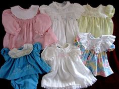 Vintage Lot baby girls dresses 1 pc & 2 pc. outfit - pink blue white smocking