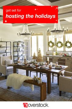 Get set for hosting the holidays. Now's the time to update your home and refresh your home decor before company arrives. So shop Overstock.com. From new bedding for the guest room to sparkly chandeliers for the dining room, save on festive home essentials from select brands.