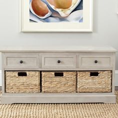 Showcasing 3 wicker baskets, this lovely storage bench is perfect for stowing cold weather accessories in the entryway or craft supplies in your creative office.