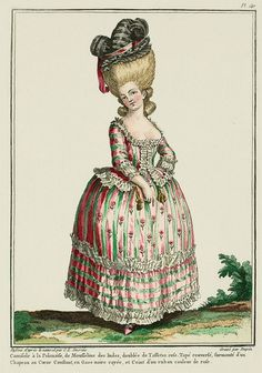 Camisole à la Polonaise, of Indian Muslin, lined with pink Taffeta. Reversed tapé, surmounted by a Constant Heart Hat, in striped black gauze, and Belted with a rose-colored ribbon. (1780)