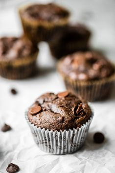 double chocolate tahini muffin with extra muffins in the background