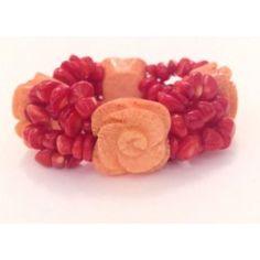 Bracciale elastico rosso e arancione in corallo di bambù