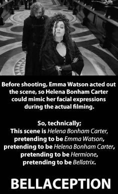 Before shooting, Emma Watson acted out the scene, so Helena Bonham Carter could mimic her facial expressions during the actual filming.