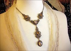 Topaz Renaissance Necklace Medieval Jewelry Gold by AfterDark, $52.00