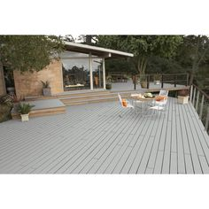 Give a good look to your old woods with the help of this BEHR Premium DeckOver Forest Smooth Solid Color Exterior Wood and Concrete Coating. Grey Deck Stain, Deck Stain Colors, Deck Colors, Paint Colors, Exterior Wood Stain, Exterior Paint, Behr Deck Over Colors, Concrete Coatings, Diy Deck