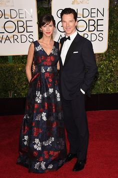 Benedict Cumberbatch with Sophie Hunter in Erdem (Pre-Fall 2015) at the 2015 Golden Globes Awards.  Photo: Getty.