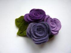 Pretty purple rose felt brooch flower brooch by CreatedWithLoveuk