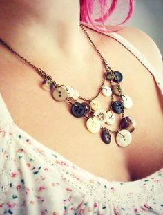 Vintage brown button necklace charm buttons jewellery by realicoul, £15.00