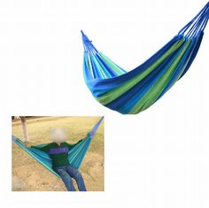 Canvas Portable Camping Garden Outdoor Indoor Hammock For Single Person Hiking Travel Equipment Products Blue And Green