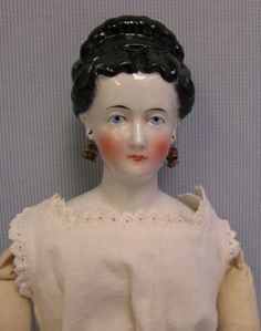 16 Antique Doll CONTE & BOEHME Regal FANCY-HAIR CHINA HEAD Old Arms, Later Body