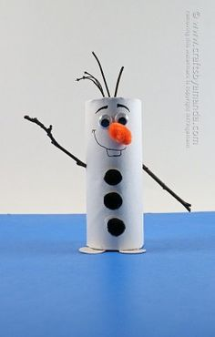 Frozen (5) snowman!! made from toilet paper