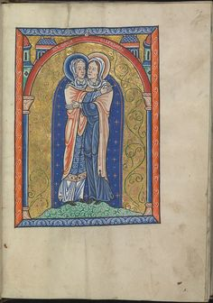 Images from the life of Christ - The Visitation, Mary meets St Elisabeth - Psalter of Eleanor of Aquitaine (ca. 1185) - KB 76 F 13, folium 015r.
