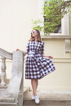 Gingham and Cherry Blossoms