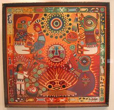 Yarn painting at the Museo de Arte Popular in Mexico City Mexican Artwork, Mexican Folk Art, Huichol Art, Kunst Der Aborigines, Yarn Painting, Art Tribal, Mexican Textiles, Popular Art, Indigenous Art