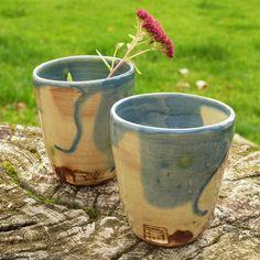 Handmade blue Pottery beakers, ceramic beakers, ceramic cups, green cups, small vase, ceramic tumblers by ThomasMorleyCeramics on Etsy