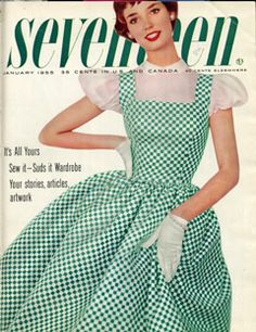 1955 — Dolores Hawkins   Dolores Hawkins, a singer from the '50s, wore a checkered green dress and little white gloves on the January 1955 cover.