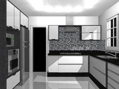 Decor Ambientes Interiores: Elegância da Cozinha Preta e Branca