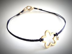 Sweet!...Gold Vermeil Petals bracelet on linen (you pick the color!) by JewelryByMaeBee on Etsy, $24.00