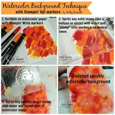 How to create a fun watercolor background with Stampin' Write markers and stamps by Patty Bennett
