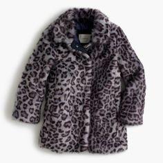 Girls' leopard faux-fur coat