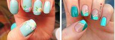 Pretty Artistic Nail Art – wanaabeehere Blue Nail, Green Nail Art, Green Nails, Pretty Nails For Summer, Bright Summer Nails, Spring Nails, Nail Art Galleries, Pretty Nail Designs, Nail Art Designs