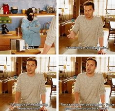 new girl.I am Nick Miller.its sorta scary. New Girl Quotes, Tv Quotes, Best Tv Shows, Favorite Tv Shows, My Favorite Things, Movies Showing, Movies And Tv Shows, Nick And Jess, Jessica Day