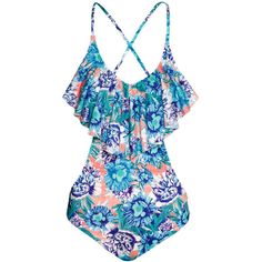 H&M Frilled swimsuit (€23) ❤ liked on Polyvore featuring swimwear, one-piece swimsuits, swim, flounce bathing suits, ruffle swimsuit, h&m bathing suits, ruffle one-piece swimsuits and swim wear
