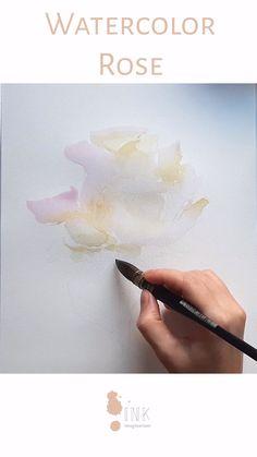 Watercolor Video, Watercolor Painting Techniques, Watercolour Tutorials, Watercolor Rose, Painting Videos, Painting Process, Flower Drawing Tutorials, Art Tutorials, Vintage Rosen