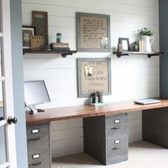 If you're into the industrial look, just know you don't need a lot going on to make it work!   18 Home Offices That Will Give You New Decor Goals