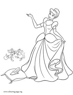 cinderella coloring picture see more the god mother gave to cinderella a delicate pair of glass slipper enjoy with this - Cinderella Coloring Pages Kids