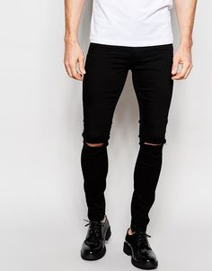 ASOS+Spray+On+Jeans+With+Knee+Rip+In+Black