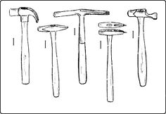 Rock Hammers and Digging Tools | Claw-Hammer. Fig. 159. Riveting-Hammer. Fig. 160. Upholster's Hammer ...