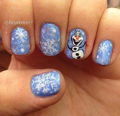 Christmas Nail Designs - My Cool Nail Designs Chrismas Nail Art, Holiday Nail Art, Christmas Nail Designs, Christmas Nails, Disney Frozen Nails, Frozen Nail Art, Olaf Nails, Kid Nails, Juliana Nails