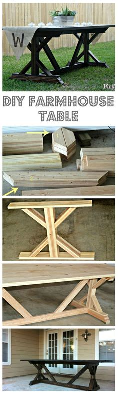 to Build a Farmhouse Table (Part The ULTIMATE outdoor patio project, this Farmhouse Table is an awesome Anthropologie Knock Off Project!The ULTIMATE outdoor patio project, this Farmhouse Table is an awesome Anthropologie Knock Off Project! Patio Table, Pergola Patio, Outdoor Tables, Dining Tables, Table Bench, Patio Dining, Backyard Patio, Farm Table Diy, Farm Table Plans