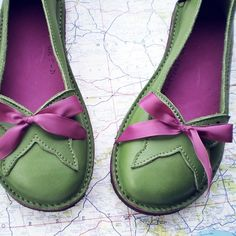 Green and purple shoes.