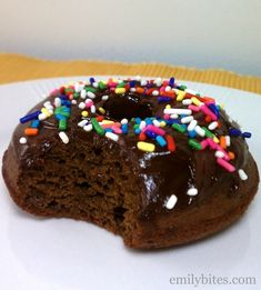 Chocolate Frosted Baked Doughnuts - chocolatey and light for just 150 calories or 6 Weight Watchers SmartPoints per donut! www.emilybites.com