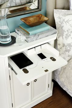 Tired of the tangle of cords on your bedside table? Our Leighton Charging table has a surge protector, cord organization, and a drawer that tucks everything away!