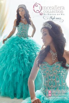 #QuinceaneraCollection - Style 26815. Available in Jade, Rose. Ruffles of tulle and sparkling tulle pour out of a Basque waistline. Beautifully decorated on the bodice with beads aligned in tear-drop pattern. Go to howstorelocator.com to find an authorized retailer near you!