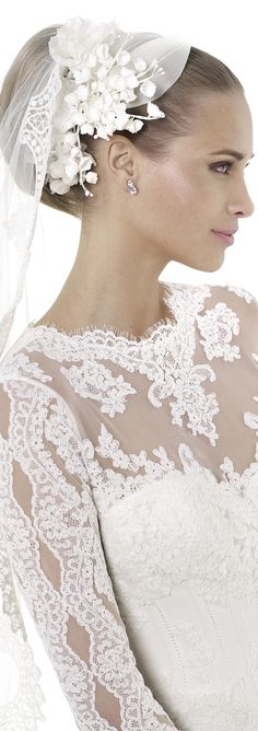 PRONOVIAS 2015 Costura BRIDAL..BEAUTIFUL FACE with pulled up do...and this headpiece is simply lovely
