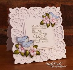 Card made using the Birds and Blooms collection from Heartfelt Creations and Spellbinders Victorian Medallion 3 dies. Made by Liz Walker