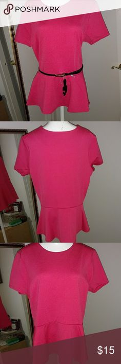 NWOT coral peplum top with bow belt NWOT super cute textured coral shirtsleeve top. Comes with patent leather (faux) with cute gold bow closure. Cato Tops