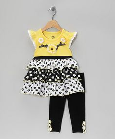 Take a look at this Yellow Floral Tiered Tunic & Black Leggings - Toddler by Young Hearts on #zulily today!